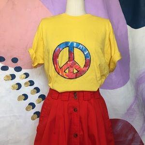 RETRO Tie Dye Peace Sign Yellow Hippie T Shirt